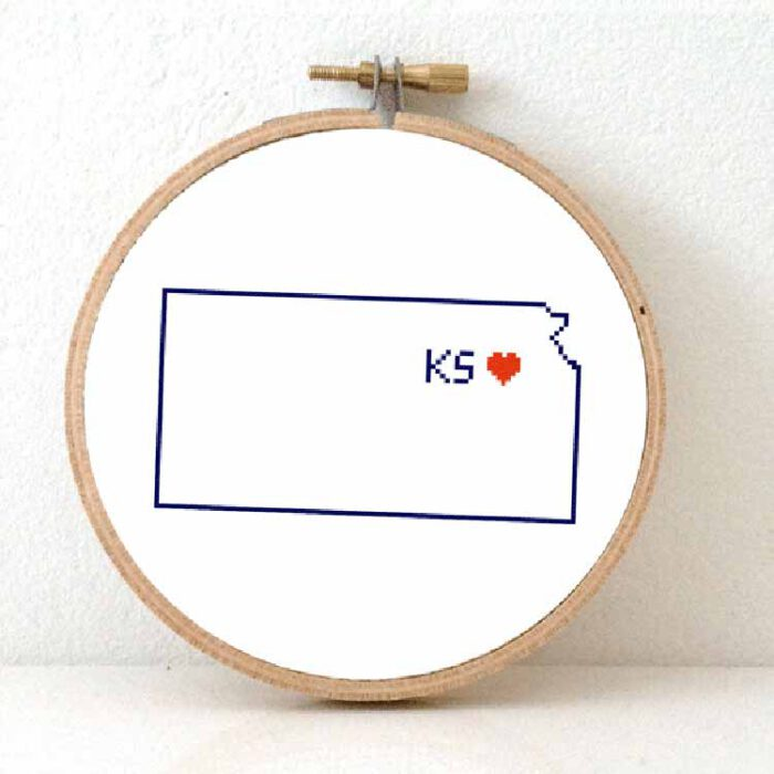 Stitchamap - Kansas cross stitch pattern for beginners