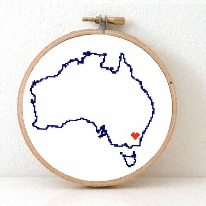 stitchamap Australia cross stitch pattern