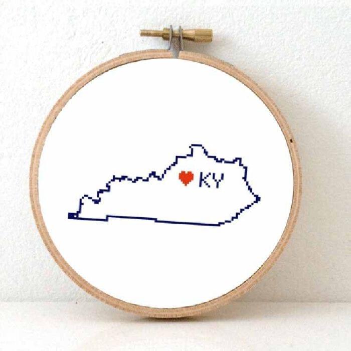 stitchamap kentucky state map cross stitch pattern