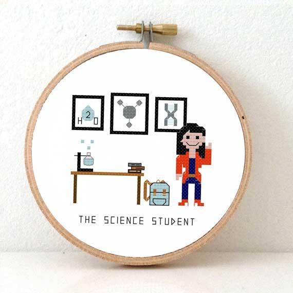 Scicence student cross stitch pattern