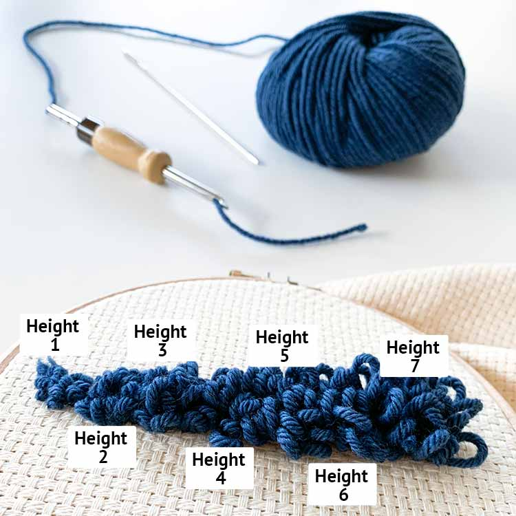 adjustable punch needle loops for chunky yarn