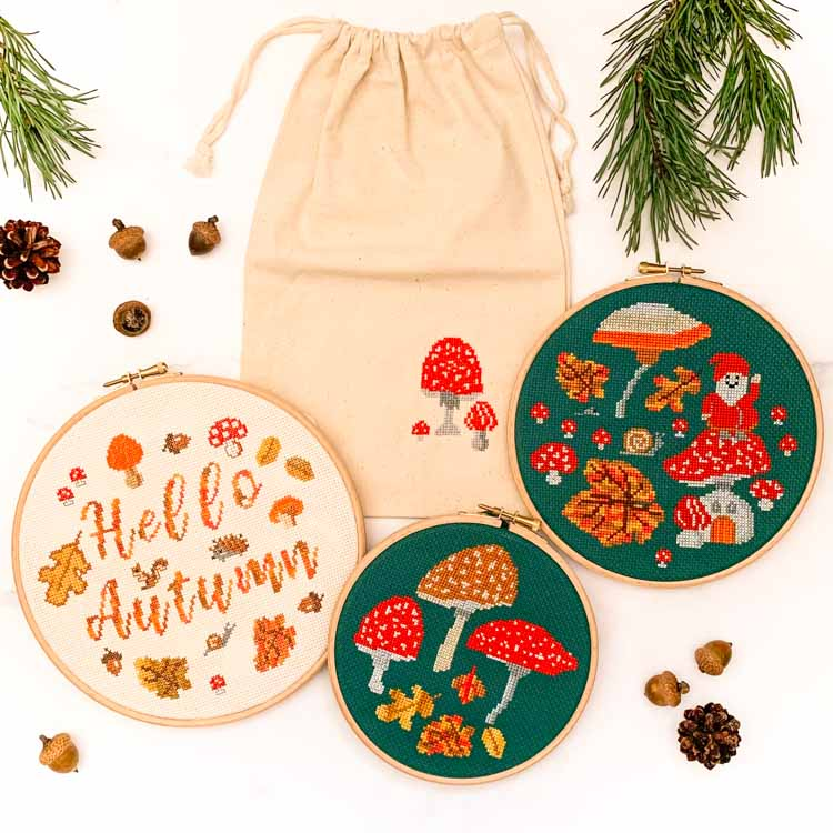 autumn themed cross stitch kit collection