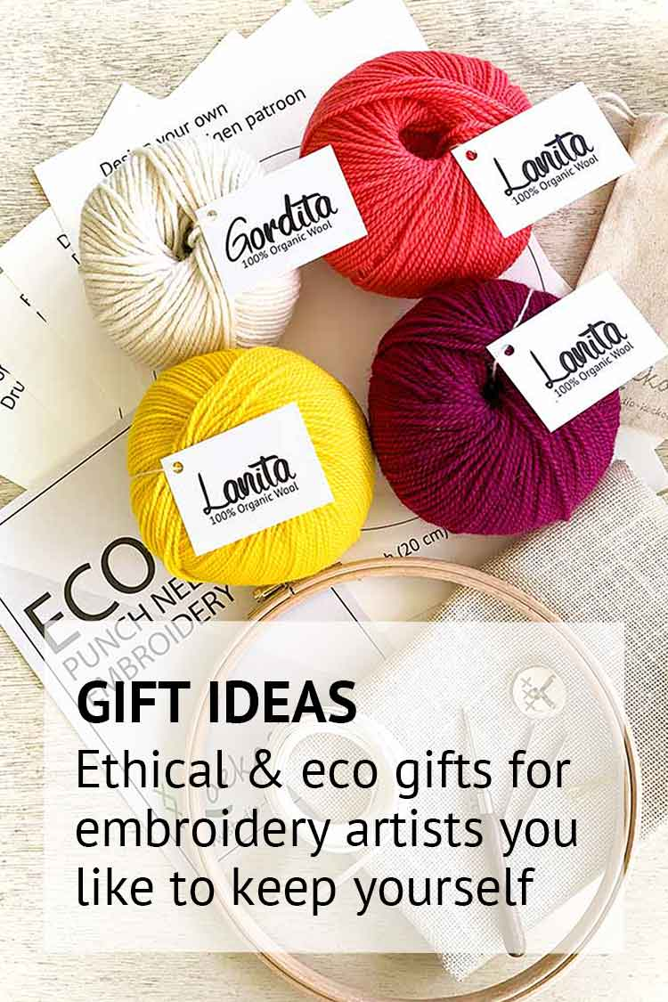 Ecological and ethical gift ideas for crafters cross stitchers and punch needle embroidery