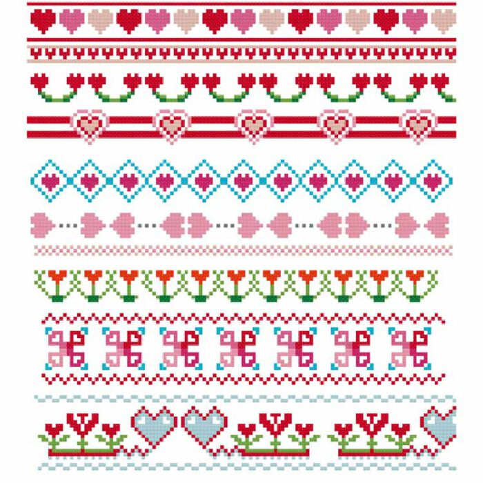 border cross stitch patterns for the edge of your fabric hearts patterns