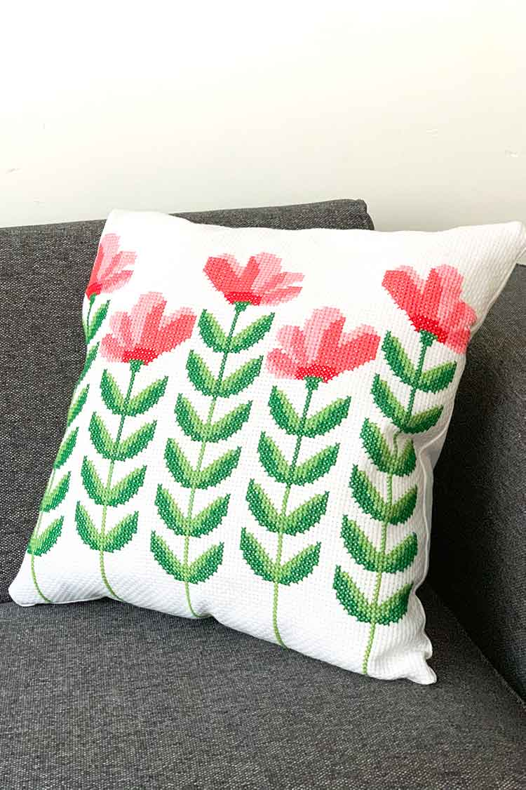 completed spring flower collection cushion_