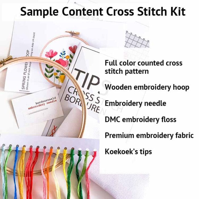 content cross stitch kit sample