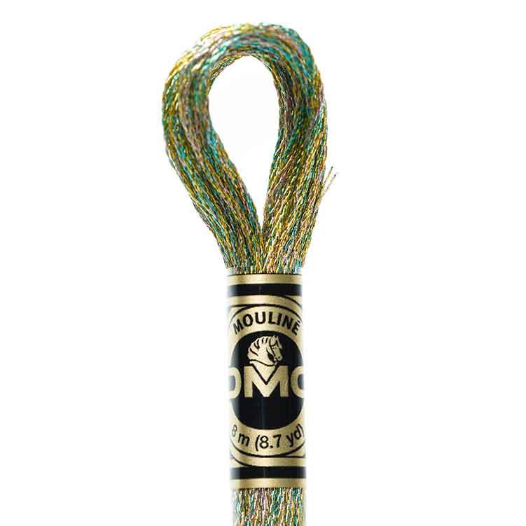DMC Light Effects Floss per Skein of 8m - E135 Metallic Green Yellow mix
