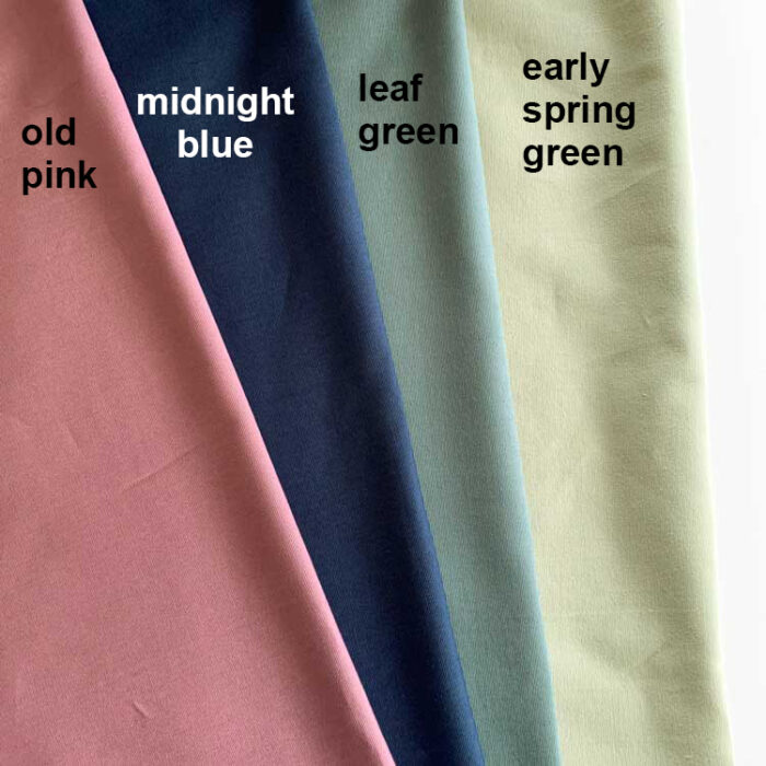eco canvas old pink midnight blue leaf green early spring green