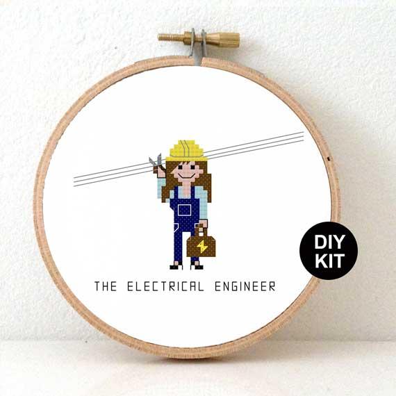female electrical engineer cross stitch kit