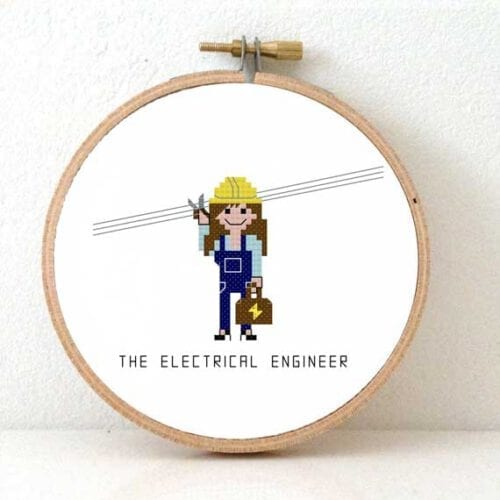female electrical engineer cross stitch pattern