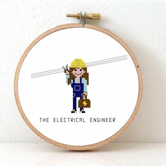 female electrical engineer cross stitch pattern