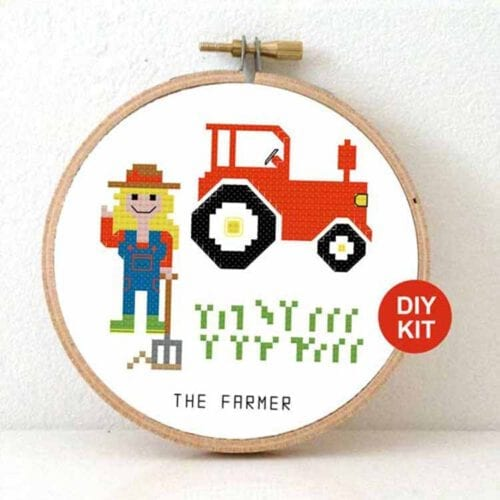 female farmer cross stitch kit
