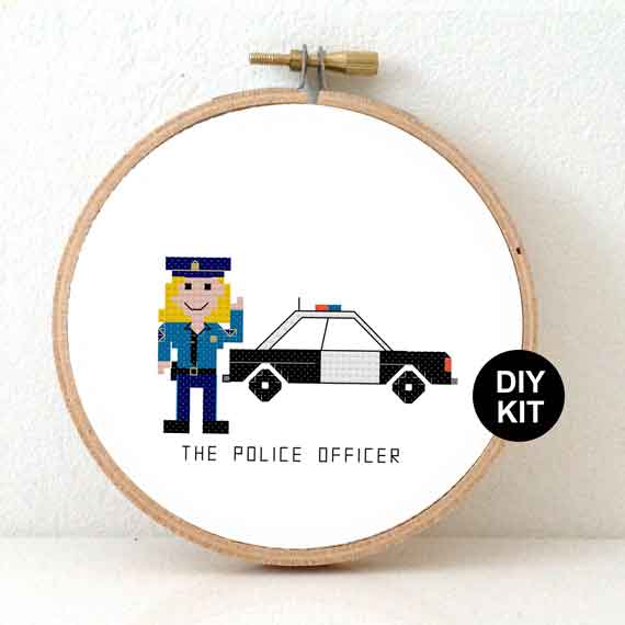 female police cross stitch kit