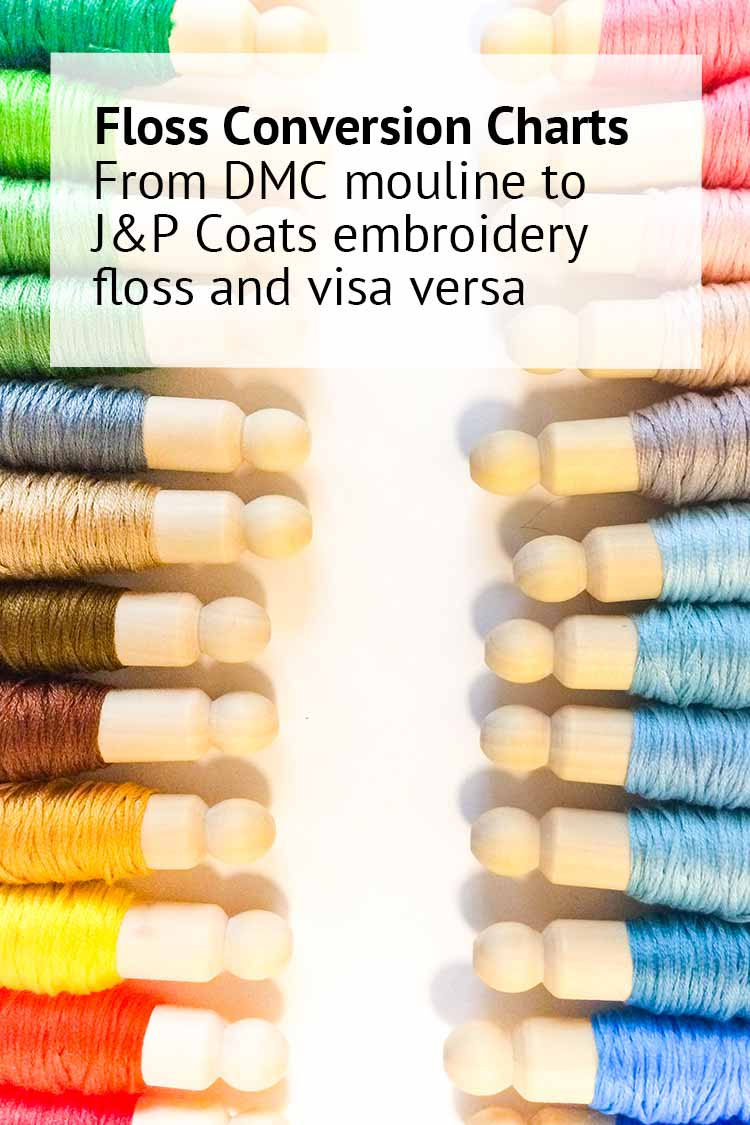 embroidery floss conversion chart JPCoats to DMC