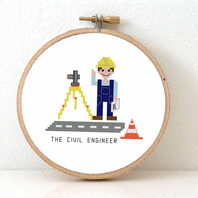 gift for civil engineer cross stitch pattern
