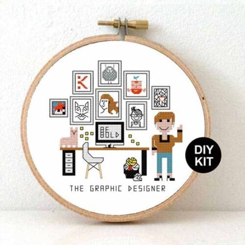 gift for female graphic designer cross stitch kit