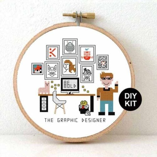 gift for male graphic designer cross stitch kit