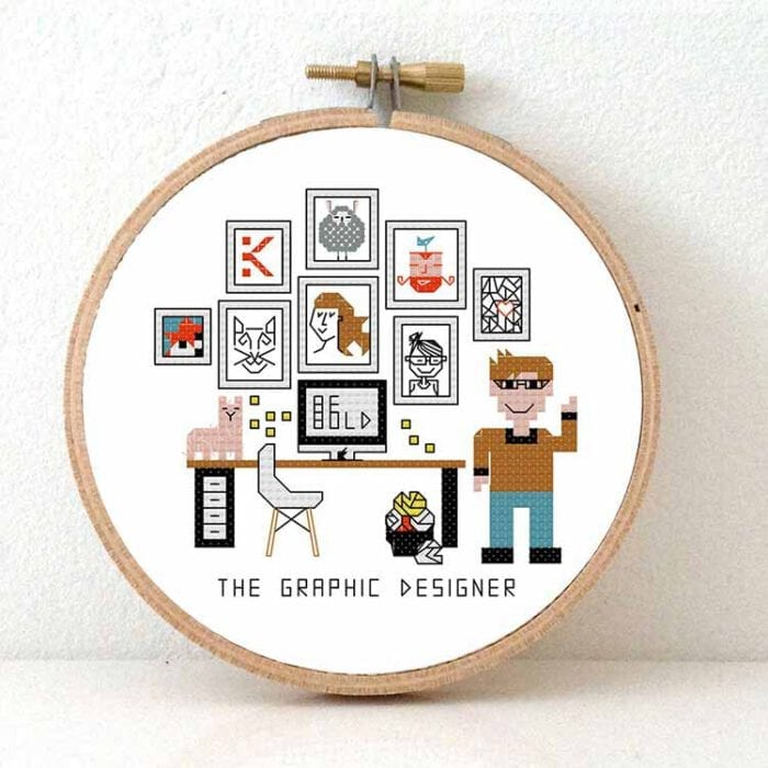 gift for male graphic designer cross stitch pattern