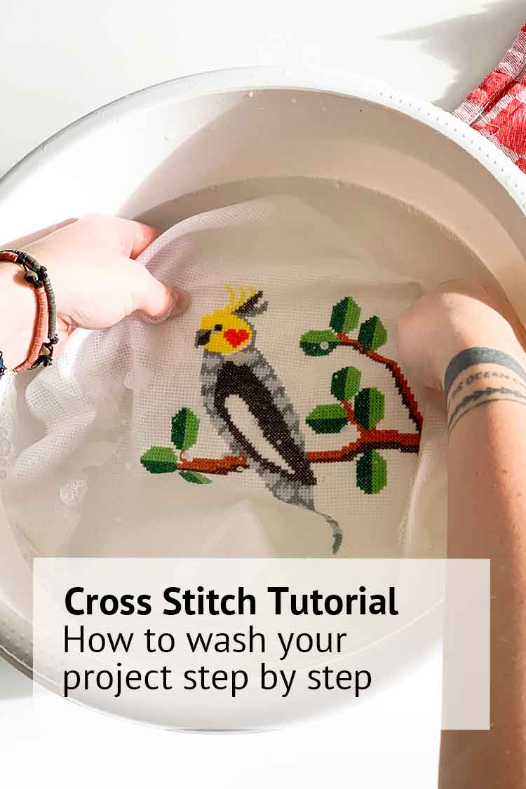 how to wash your cross stitch project
