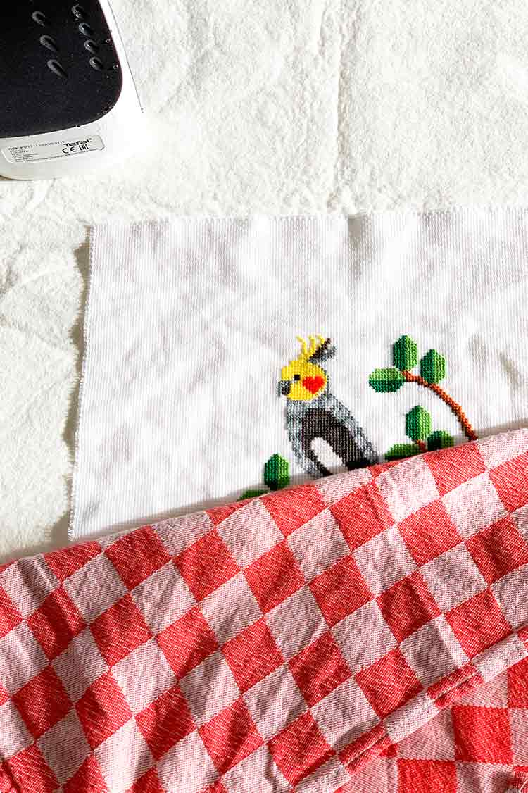 how to iron your cross stitch project