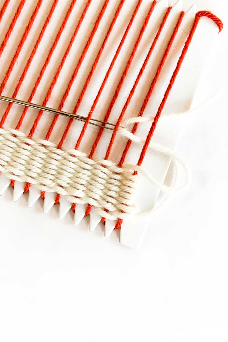 how to weave on a cardboard loom step by step