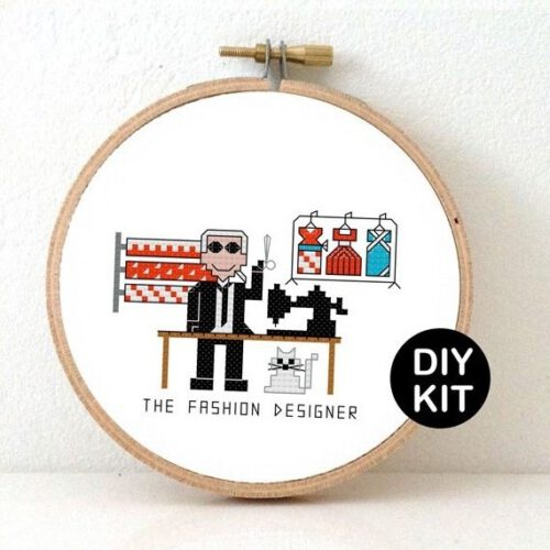 male fashion designer cross stitch kit
