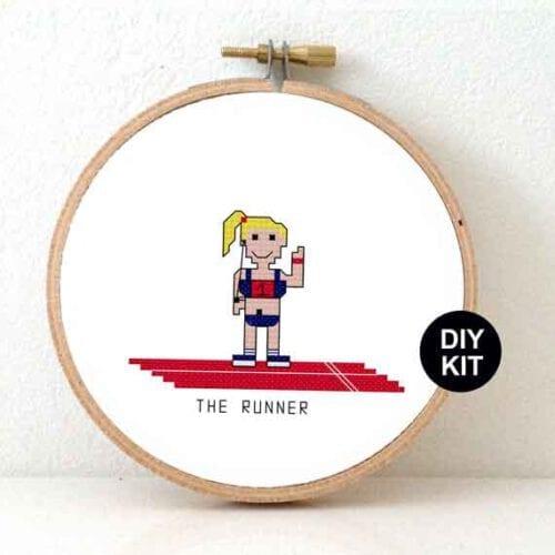 gift for female marathon runner cross stitch kit