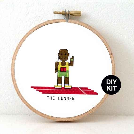 gift for male marathon runner cross stitch kit