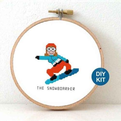 snowboarder cross stitch pattern winter sports