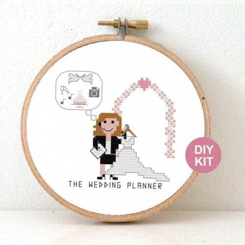 gift for female wedding planner cross stitch kit