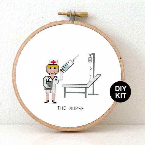 gift for female nurse cross stitch kit