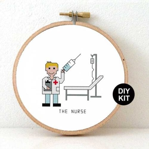 gift for male nurse cross stitch kit