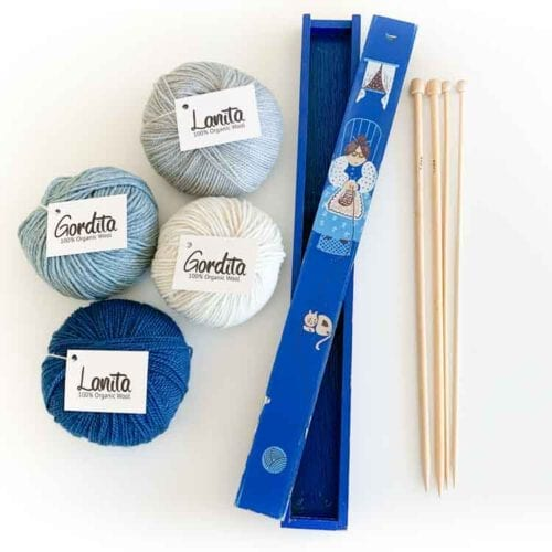 knitting gift set blue