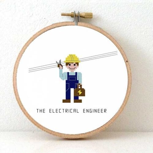 male electrical engineer cross stitch pattern