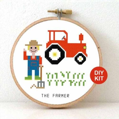 male farmer cross stitch kit