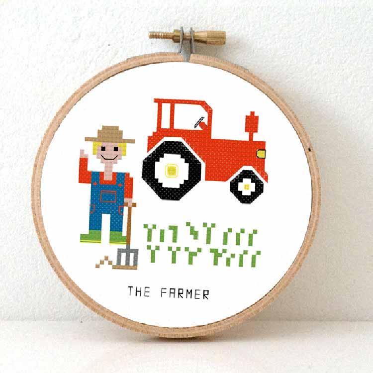 male farmer cross stitch pattern