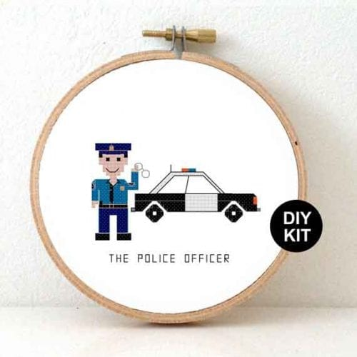 male police cross stitch kit