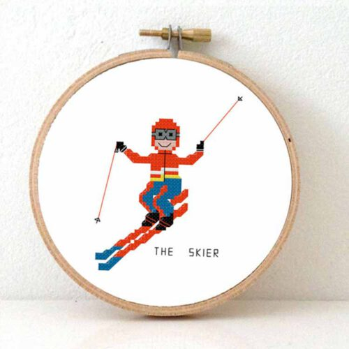 Male skier cross stitch pattern