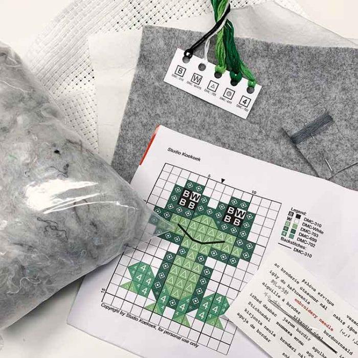 mini frog cross stitch kit