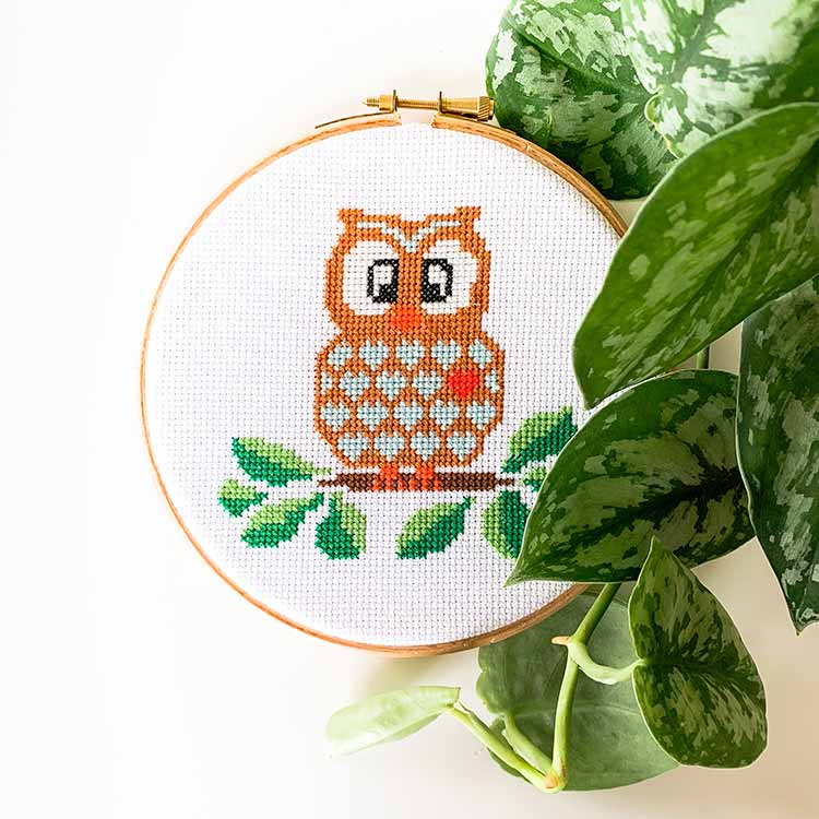 owl uil cross stitch pattern