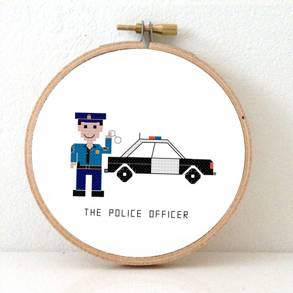 police officer male cross stitch pattern