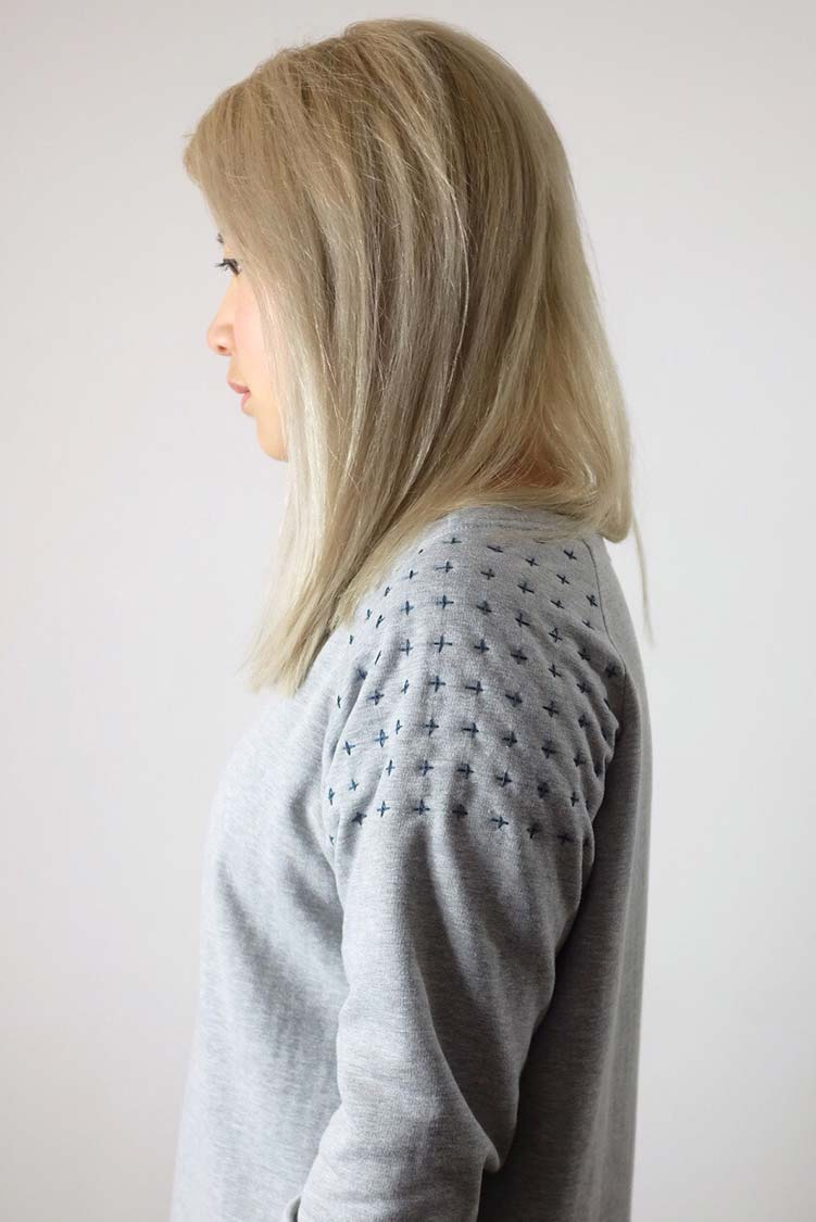 sashiko on sweater