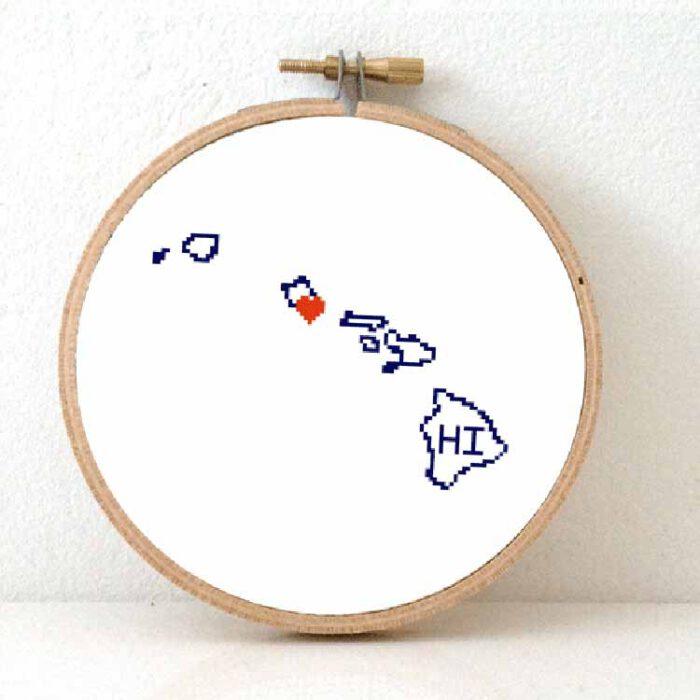 stitchamap - hawaii map cross stitch pattern