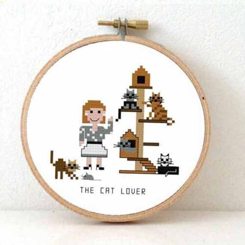 stitchajob - female cat lover cross stitch pattern
