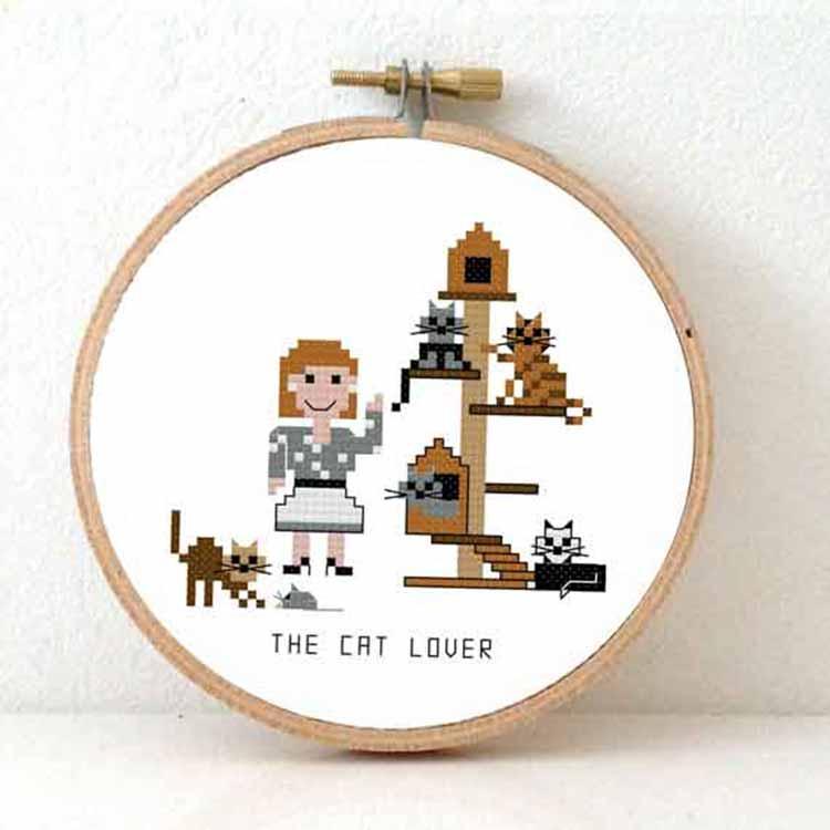 stitchajob - female cat lover cross stitch pattern