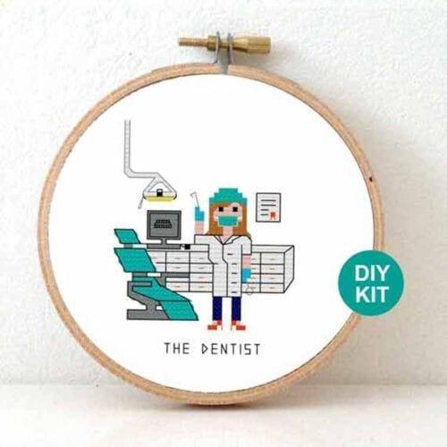 stitchajob female dentist cross stitch kit