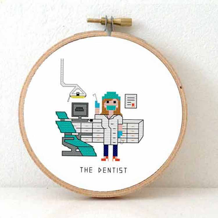stitchajob female dentist cross stitch pattern