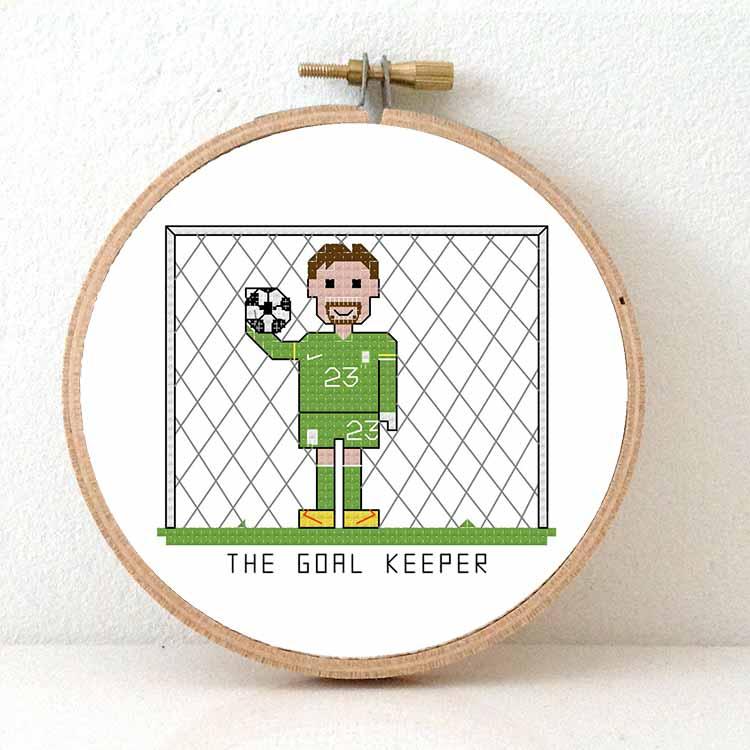 soccer goal keeper cross stitch pattern
