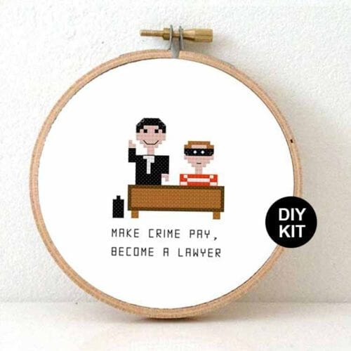 gift for male lawyer cross stitch kit