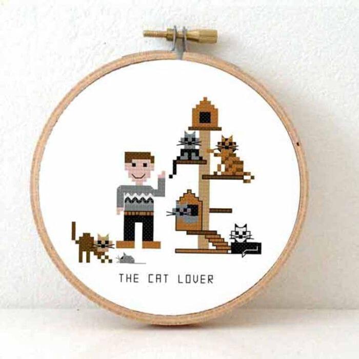 stitchajob - male cat lover cross stitch pattern
